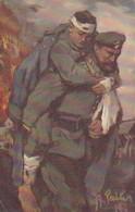 AK Soldat Mit Verwundetem - Künstlerkarte Failer - Wohlfahrt Rotes Kreuz - 1915 (39581) - Guerre 1914-18