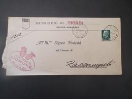 REGNO ITALIA BIGLIETTI CON OVALE DI FRANCHIGIA COMUNALE RICADI REGIE POSTE 1937 - 1900-44 Vittorio Emanuele III