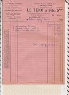 81042 Lettre Facture LE TENO ANCIENNE TANNERIE JOSSE LAMBALLE / 1954 - France