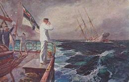 AK Der Letzte Gruß - SMS Ayesha - Emden Mücke - Patriotika - Feldpost Seemannhaus 2. Marine Div - 1917 (39584) - Guerre 1914-18