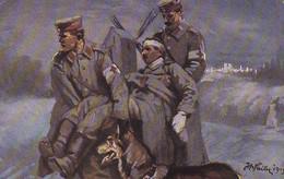 AK Der Sanitätshund Im Felde - Transport Des Aufgestöberten Verwundeten - Künstlerkarte Failer - Patriotika 1.WK (39585) - Guerre 1914-18