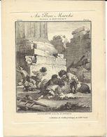 """ESTAMPE LITHOGRAPHIE  AU BON MARCHE PARIS """" LA FOSSETTE OU LE JEU DE NOYAUX """" JEU JEUX ENFANTS - Vieux Papiers"""