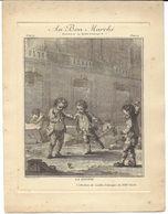 """ESTAMPE LITHOGRAPHIE  AU BON MARCHE PARIS """" LA TOUPIE """" JEU JEUX ENFANTS - Vieux Papiers"""