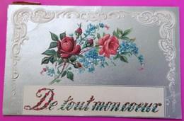Cpa Romantique De Tout Mon Coeur 1907 Carte Postale Fantaisie Gauffrée Roses Rouges - Fêtes - Voeux