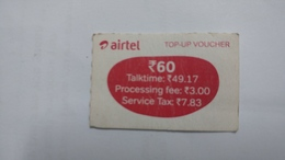 India-airtel Prepiad Card-top-up Voucher(53)-(rs.60)-(bangalore)-(31.5.18)-(look Out Side)-used Card+1 Card Prepiad Free - India