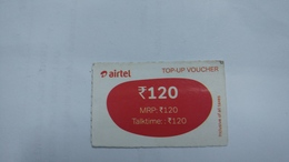 India-airtel Prepiad Card-top-up Voucher(53a)-(rs.120)(bangalore)(31.12.16)(look Out Side)-used Card+1 Card Prepiad Free - India