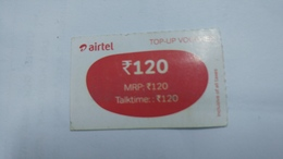 India-airtel Prepiad Card-top-up Voucher(53b)-(rs.120)(bangalore)-(31.3.17)(look Out Side)-used Card+1 Card Prepiad Free - India