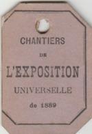 PARIS - Exposition Universelle De 1889 - Ticket Délivré Aux Journalistes Pour Accéder à La Visite Des Chantiers. - Cartes Géographiques