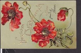 Postkarte Geburtstag , Prägekarte , Blumen - Anniversaire