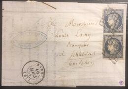 LETTRE 1851 Ceres N°4 En Paire (1 Timbre Pli D'archive) 25c Bleu Fonçé De BARR Pour Schletstat - 1849-1850 Ceres