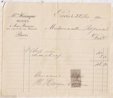 81012 Lettre Facture HAINQUE MODES PARIS / 1910 - France