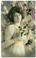 PRETTY GIRL WITH ROSE / FLOWER TRELLIS (HAND-PAINTED) - Women