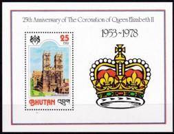 Bhutan, 1978, 727 Block 82 A, 25. Jahrestag Der Krönung Von Königin Elisabeth II. MNH ** - Bhutan