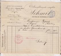 8105 Lettre Facture AMEUBLEMENT SCHMIT PARIS / 1904 - France