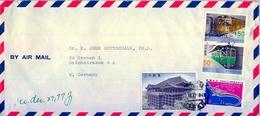 1977 , JAPÓN - JAPAN , SOBRE CIRCULADO , CORREO AÉREO , FRANQUEO MÚLTIPLE , AKASAKA - 1926-89 Empereur Hirohito (Ere Showa)