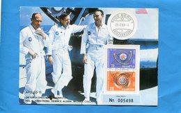 ESPACE*Carte Gros Plan-Apollo11-armstrong-aldrin-collins-N°005498- Oblitéré BERN-21 Juil 69 - Cartes Postales
