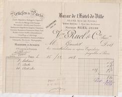 8108 Lettre Facture RUEL ET CIE BAZAR DE L'HOTEL DE VILLE PARIS / 1908 - France