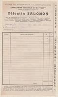 8107 Lettre Facture SALOMON SCIERIE MOULIN NEUF LAIGNES / 1909 - France