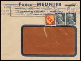 7716 Entete FOURS MEUNIER TOUYLOUSE 1947 Affranchissement Gandon France Lettre (cover) - Postmark Collection (Covers)