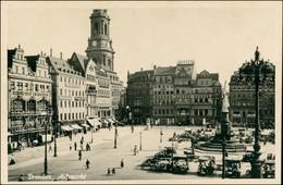 Ansichtskarte Innere Altstadt-Dresden Altmarkt, Geschäfte, Gerüst 1930  - Dresden