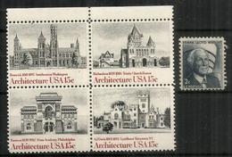 Grands Architectes Américains: Frank Lloyd Wright,Renwick,Furness,Richardson,AJ Davis.  5 Timbres Neus ** - Architecture
