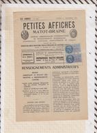 81025 Lettre Facture PETITES AFFICHES MATOT BRAINE REIMS MARNE ARDENNES / 1952 - France