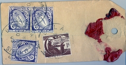 1963 , IRLANDA , ETIQUETA  POSTAL DE ENVIO CERTIFICADO , BALLYHAUNIS - DUBLIN , THE NATIONAL BANK LIMITED - 1949-... República Irlandése