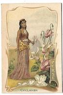 CHROMO  - Femme - Perse - Fleurs Cyclamen - Non Classés