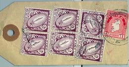 1963 , IRLANDA , ETIQUETA  POSTAL DE ENVIO CERTIFICADO , CORK  - DUBLIN , MAT. CORCAIGH , THE NATIONAL BANK LIMITED - 1949-... República Irlandése