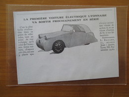 (1940) LYON - Ets Renard - Première Voiture électrique De Série Lyonnaise   - Coupure De Presse Originale (Encart Photo) - Historical Documents