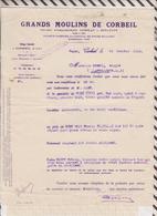 81034 Lettre Facture GRANDS MOULINS DE CORBEIL / 1924 - France