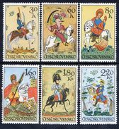 CZECHOSLOVAKIA 1972 Equestrian Glass Paintings Set MNH / **.  Michel 2097-102 - Czechoslovakia