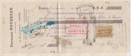 81038 Lettre Facture TRAITE LETTRE DE CHANGE ROUSSEAU NANTES / 1922 - Bills Of Exchange