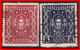 AUSTRIA (ÖSTERREICH) SELLOS SERIE AÑO 1922 -1924 SYMBOLS OF ART AND SCIENCE - 1918-1945 1. Republik