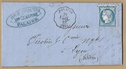 N°60 C Sur Lettre De Guibray TAD CONVOYEUR STATION Falaise Vers Lyon 20 Juin 1875 - Postmark Collection (Covers)