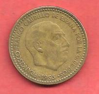 1 Peseta , ESPAGNE , Alu-Bronze , 1953 ( 60 ) , N° KM # 775 , N° Y113 - [ 5] 1949-… : Royaume