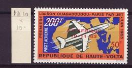 Haute Volta - Obervolta - Upper Volta Poste Aérienne 1963 Y&T N°PA10 - Michel N°139 * - 50fs200f Paris Ouagadougou - Haute-Volta (1958-1984)