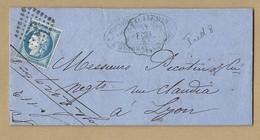 N°60 C Sur Lettre De Guibray TAD CONVOYEUR STATION Falaise Vers Lyon 17/10/1874 - Postmark Collection (Covers)