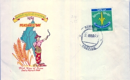 1969 , BURMA , SOBRE DE PRIMER DIA , PEASANTS DAY , RANGOON - Myanmar (Burma 1948-...)
