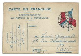 Correspondance Militaire Carte En Franchise Correspondance Des Armées De La République Trésor Et Postes110   2 Scans .G - Guerre 1914-18