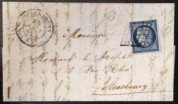 LETTRE 1851 Ceres N°4 (1 Pli D'archive) 25c Bleu Fonçé De Niederbronn + Dateur Type 14 Tres Frais - 1849-1850 Ceres