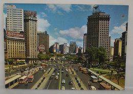Sao Paulo Vale Anhangabaù Insegne Pubblicità Bus Auto  Cartolina 1965 Red Stamps EMA - São Paulo