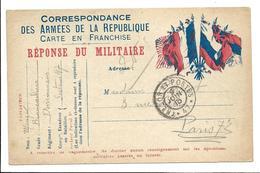 Correspondance Militaire Correspondance Des Armées De La République Carte En Franchise Réponse Du Militaire Trésor Et .G - Guerre 1914-18