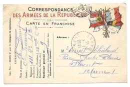 Correspondance Militaire Correspondance Des Armées De La République Carte En Franchise Trésor Et Postes 9 . .G - Guerre 1914-18