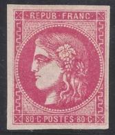 N°49b Cérès Bordeaux 80c Rose Vif Neuf* 1870 - Signé Calves - 1870 Bordeaux Printing