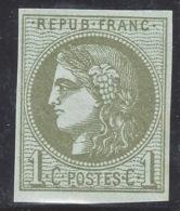 N°39C Cérès Bordeaux 1c Olive R3 Neuf** 1er Choix - Signé Calves & Certificat - 1870 Bordeaux Printing