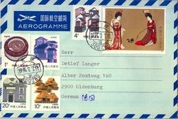 1991 , CHINA , AEROGRAMA CIRCULADO ENTRE TIANJIN Y OLDENBURG - 1949 - ... República Popular