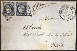Devant De Lettre 1851 Ceres  N°4 X2  25c Bleu Fonçé De Niederbronn Dateur Type 14 - 1849-1850 Ceres