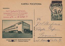 Poland Postal Stationery Ganzsache Entier 10 Zl Auf 6 Zl. Telekomunikacyjny SWIECIE N/W. 1949 (2 Scans) - Ganzsachen