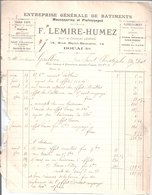 F. Lemire Humez Entreprise Générale De Bâtiments Maçonneries Et Plafonnages. Travaux D'arts  Douai. 1906 - France